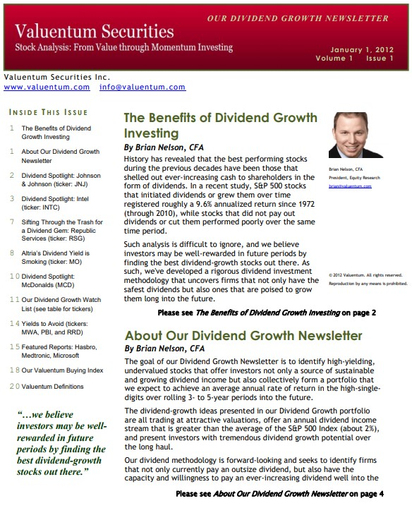 About Our Dividend Growth Newsletter - Valuentum Securities Inc